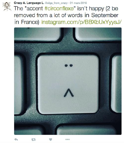 Accent circonflexe sur un clavier