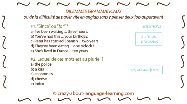 Difficultés de la grammaire anglaise