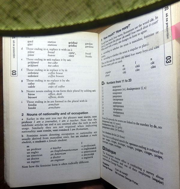 Mon livre Teach Yourself pour les exercices et la grammaire roumaine