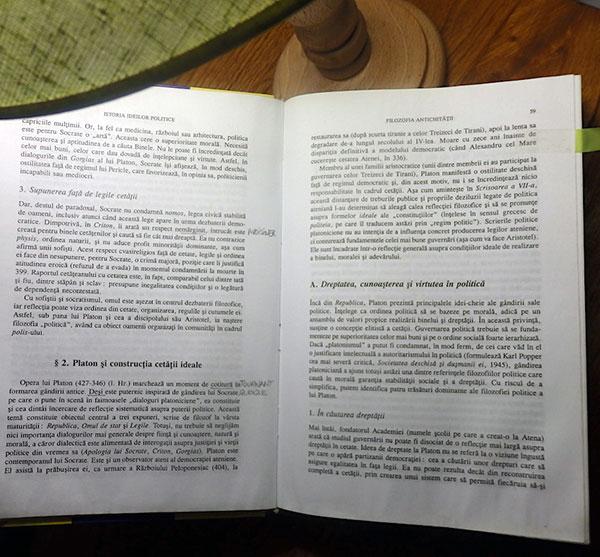 Istoria ideilor politice par Olivier Nay, le livre en roumain que je suis en train de lire