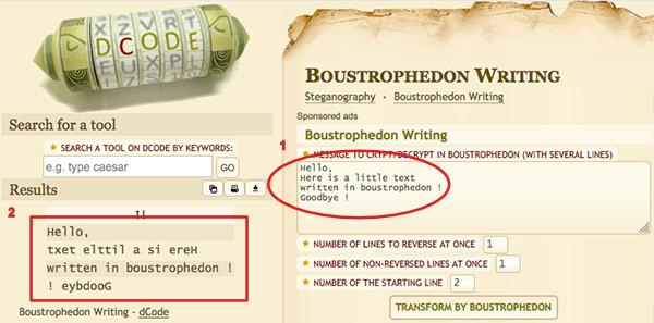 boustrophedon in a sentence